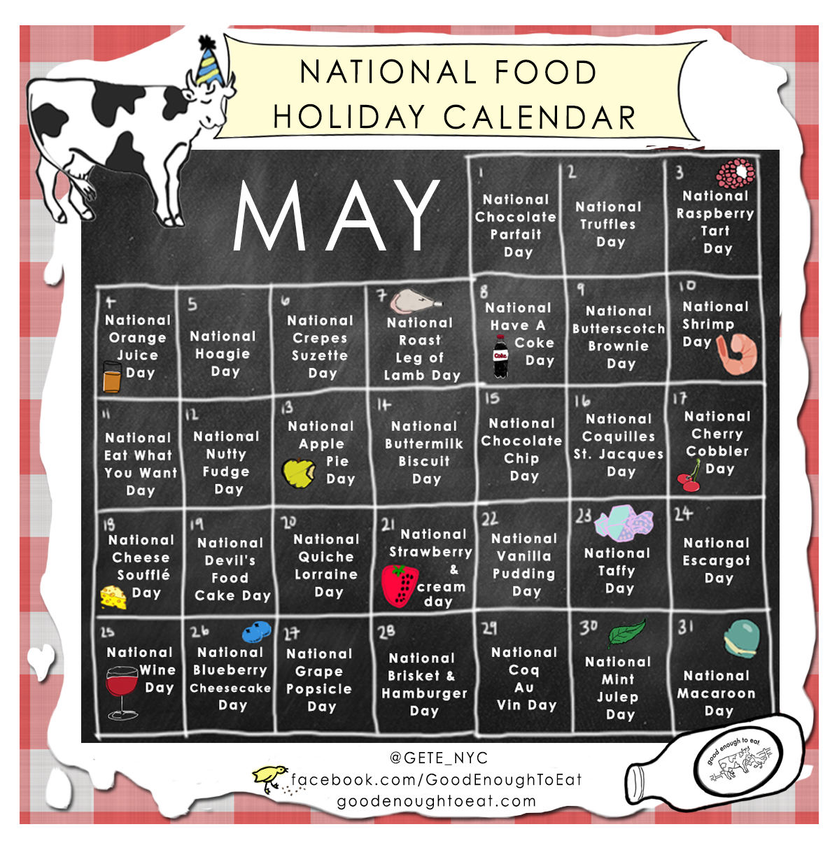 National Food Day Calendar Printable | Calendar Template 2016
